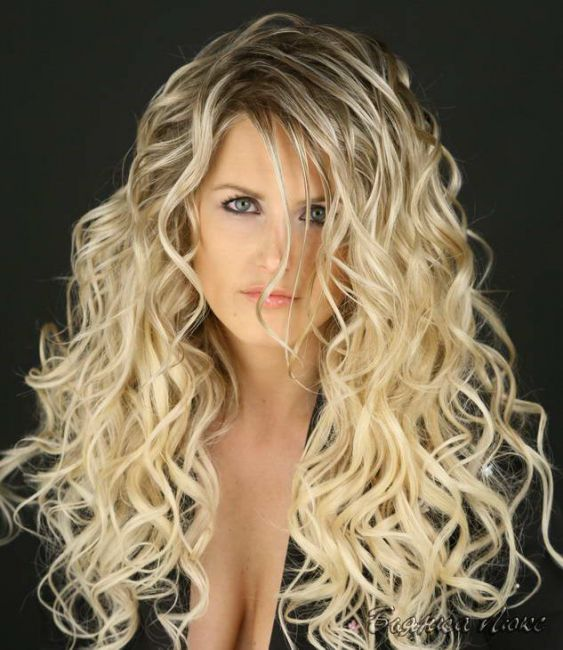 биозавивка на длинные волосы крупные локоны фото