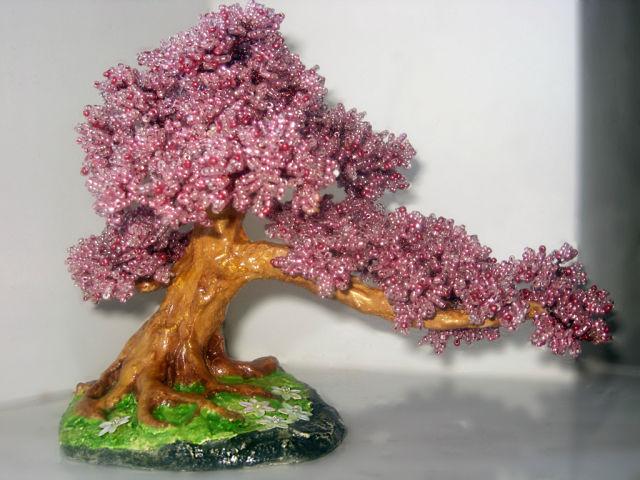 Бонсай из розового бисера мастер класс с пошаговым