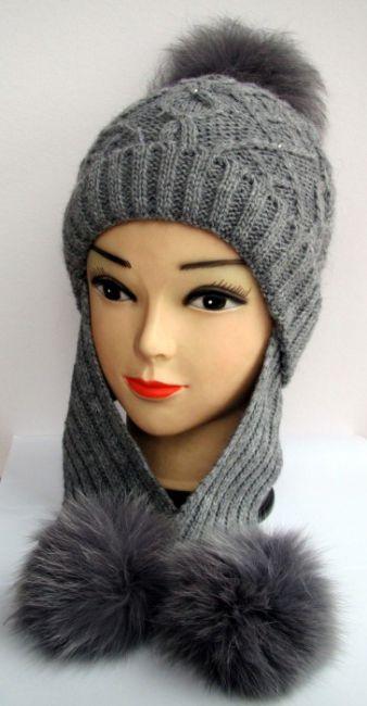 Вязание шапка с помпоном и ушками